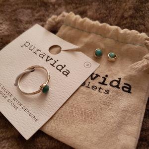 Pura Vida Turquoise Ring and Earring Set
